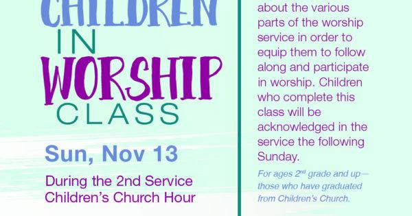 Children in Worship Class